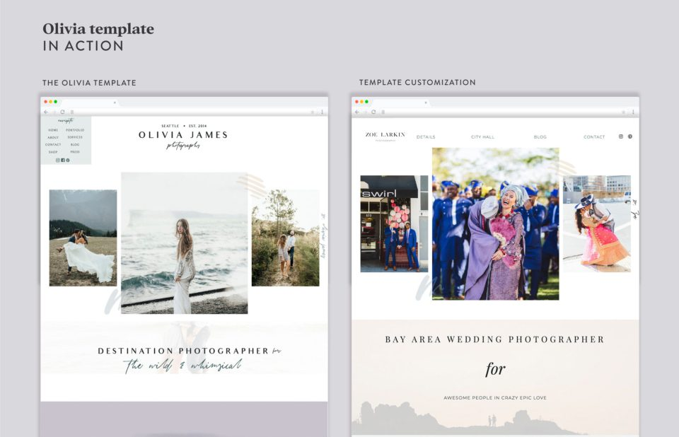 Modern photographer Showit website for Zoe Larkin, wedding photographer. A Showit website for photographers customzied