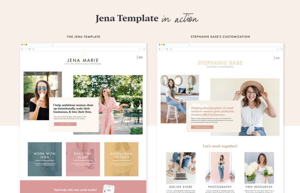 Check out photographer and educator Stephanie Kase's website customization of the Jena template designed by Elizabeth McCravy.