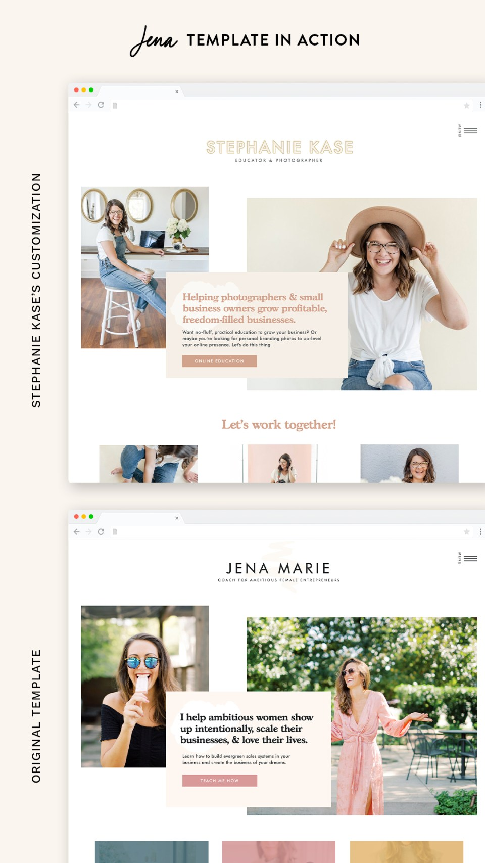 See the Jena website template from EM Shop in action with Stephanie Kase's new website!