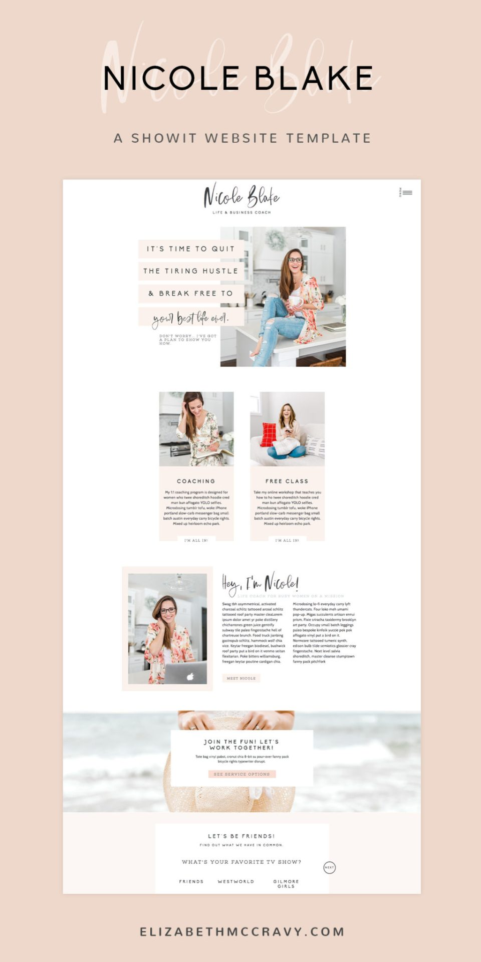 The Nicole Showit template from EM Shop is perfect for life coaches!