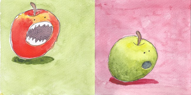 combined red and green apples