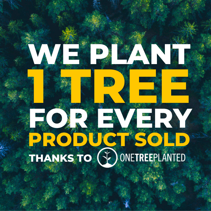 we plant one tree for every product sold thanks to one tree planted