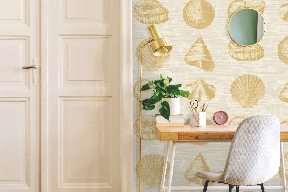 Martinique, Yellow shell wallpaper with a desk in a home office with house plants and minimal decor