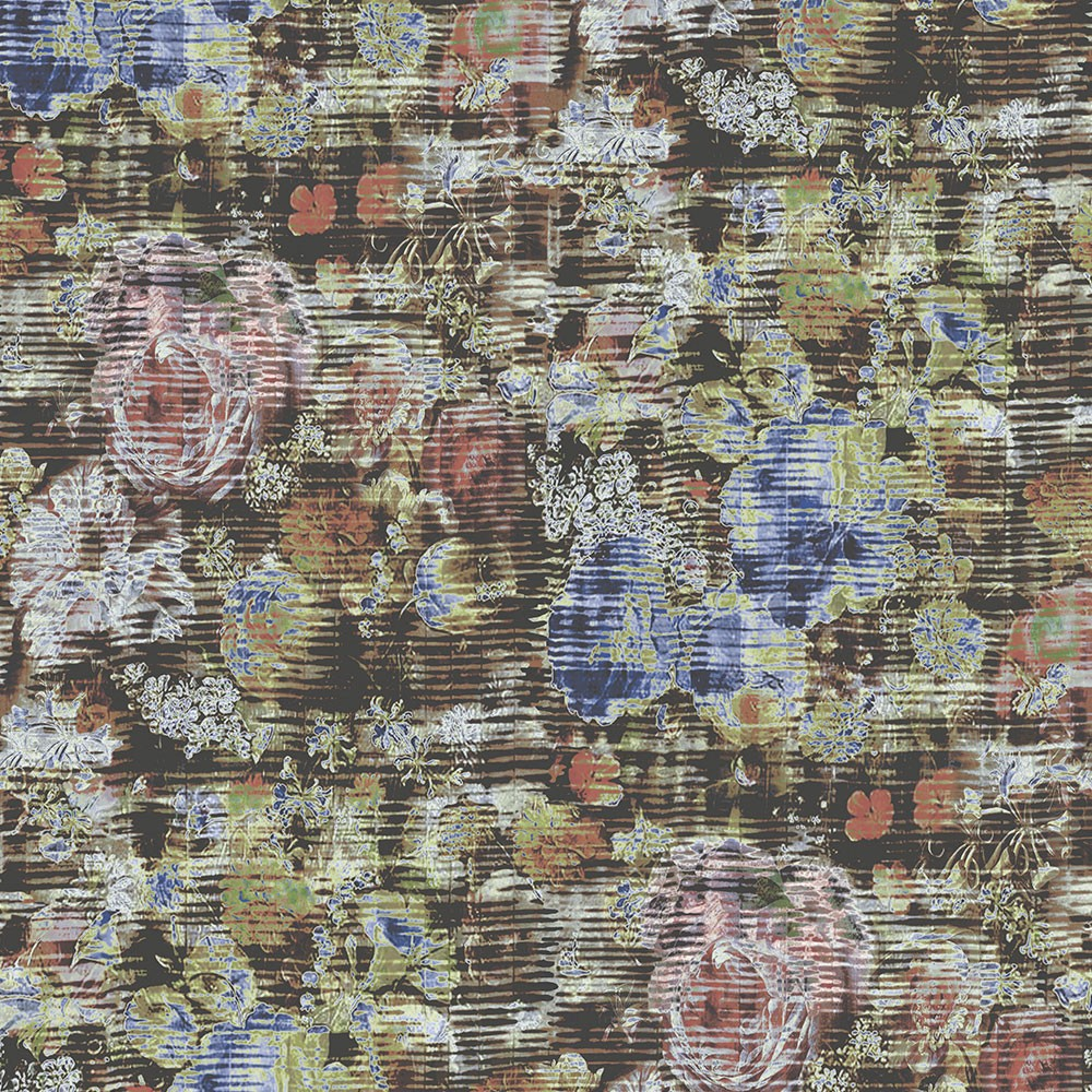 Beryl black wallpaper with flowers in a textured style