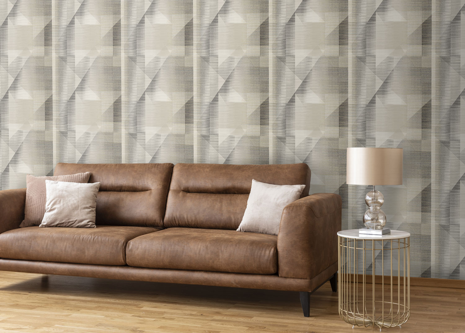 Butia black and white in a living room with tan sofa