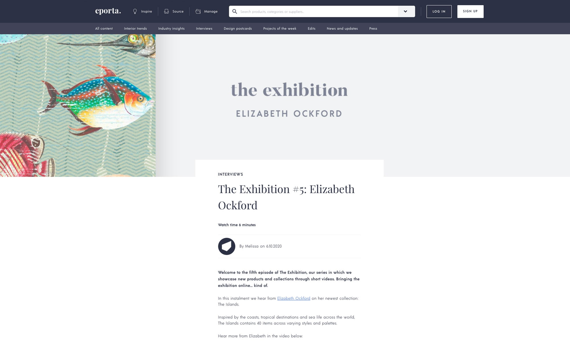 A press release of Elizabeth Ockford's wallpaper displayed in an eporta exhibition.