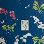 Sadie flower orchid wallpaper in a strong blue with watercolour orchids and dragonfly.