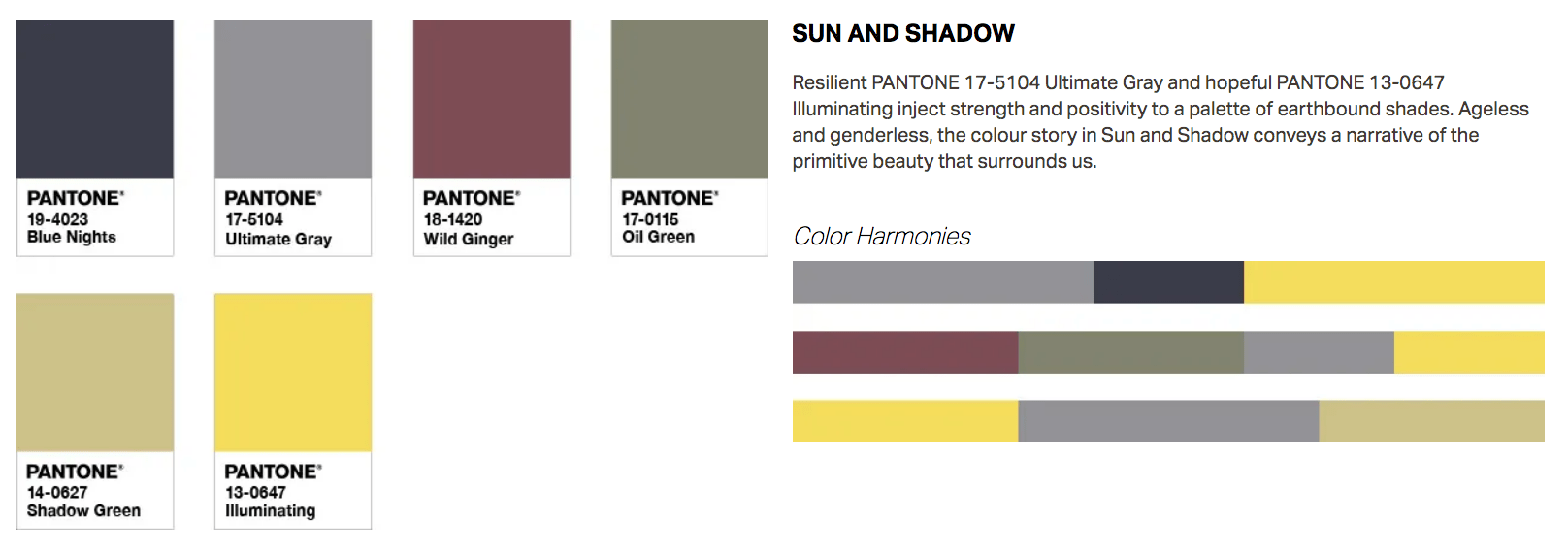 pantone color of the year 2021 sun and shadow palette