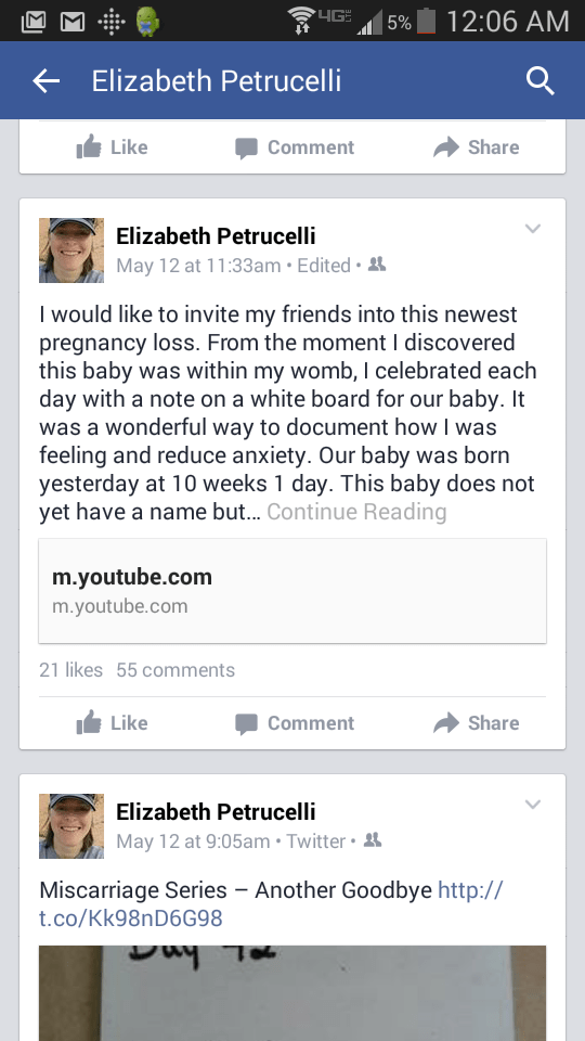 Facebook Miscarriage Announcement
