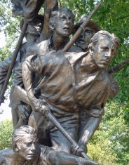 A close-up of the soldiers of the North Carolina monument.