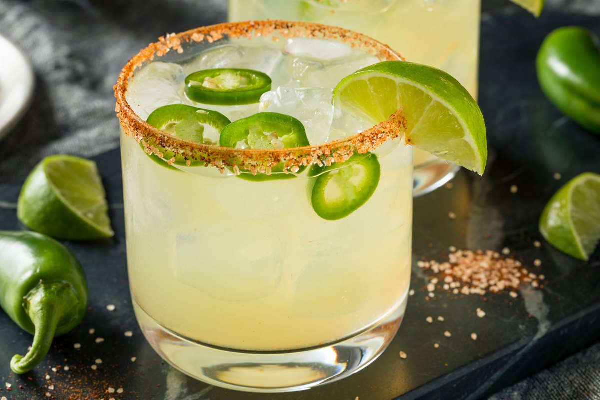 spicy margarita, margarita with salt, alcohol beverage with tequila