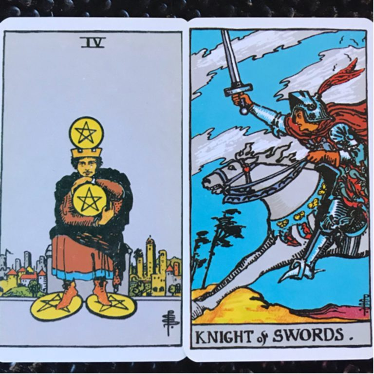 Late-Capricorn: 4 of Pentacles & The Knight of Swords (January 10-February 9)