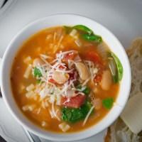 White Bean Soup with Tomatoes, Spinach and Pasta