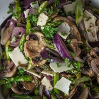Summer Asparagus, Mushroom and Onion Salad