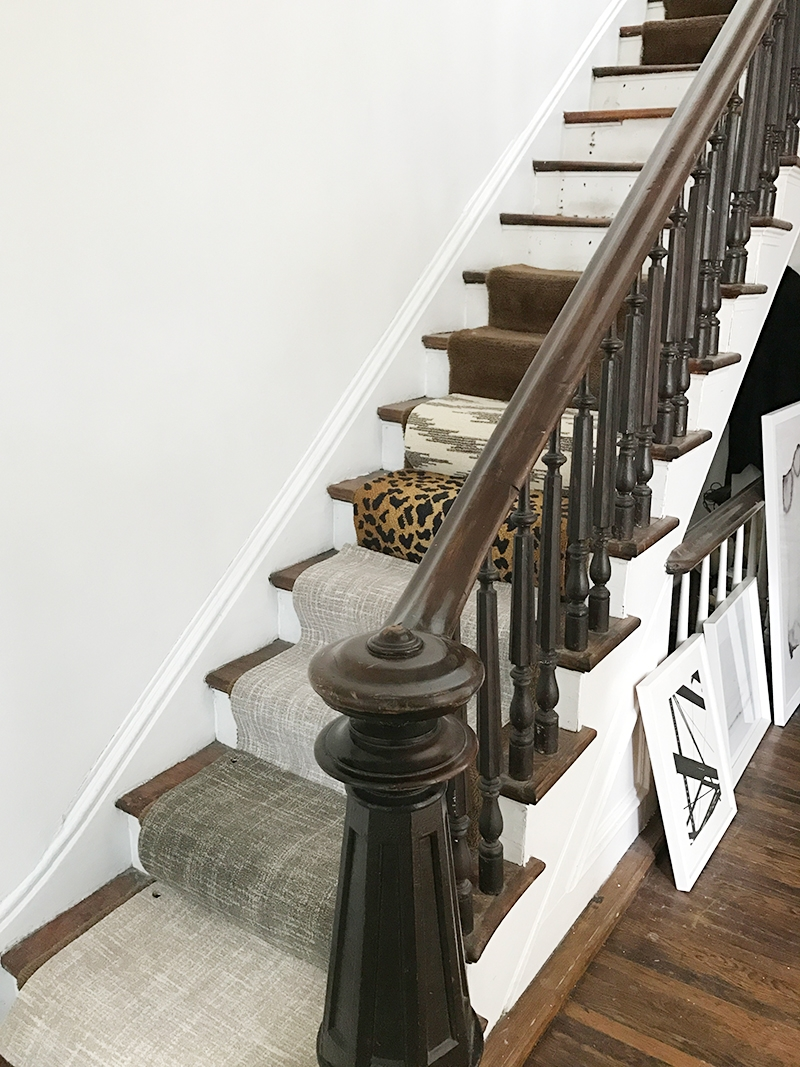 Our House Stair Runner Before After Elizabeth Street Post | Solid Color Stair Runners | Modern Stair | Stair Carpet Runner | Washable | Rubber Backed | Self Adhesive
