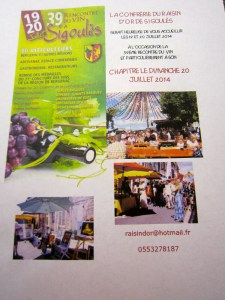 Invitation to the 2014 Confrérie du Raisin d'Or event