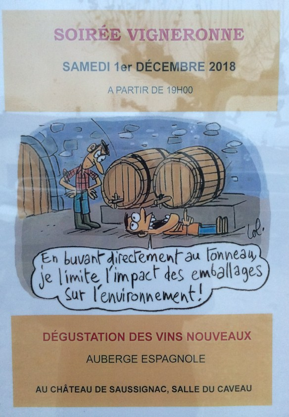 This caroon says: drinking directly from the barrel, I'm reducing the impact of packaging on the environment!