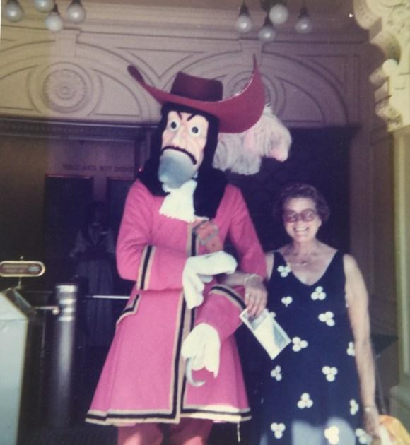 Mum meets Long John Silver, Disneyland, 1980.