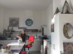 Sharen making us coffee in her studio