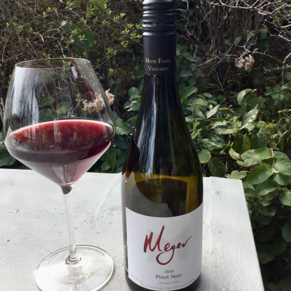 A glass of Meyer 2018 Pinot Noir in my new Riedel Pinot Noir glass! Meyer Family Vineyards, Okanagan Falls, B.C.