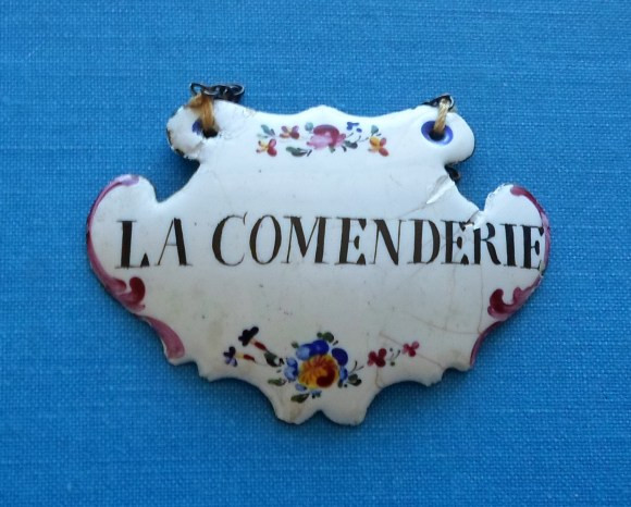 18th Century enamel wine label.