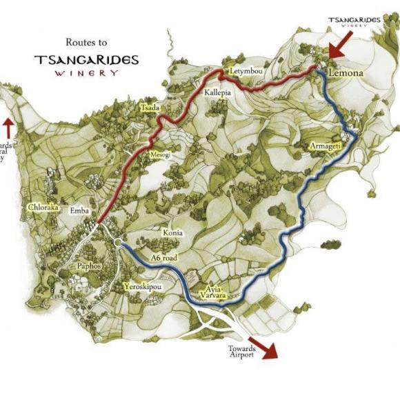 Map to Lemona and Tsangarides Winery - courtesy Tsangarides Winery