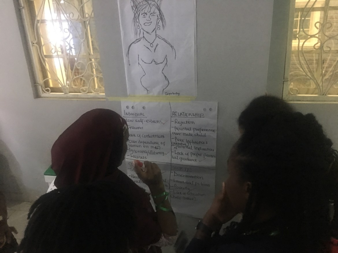 Azeeza writing on behalf of her group's work on the social determinants of GBV
