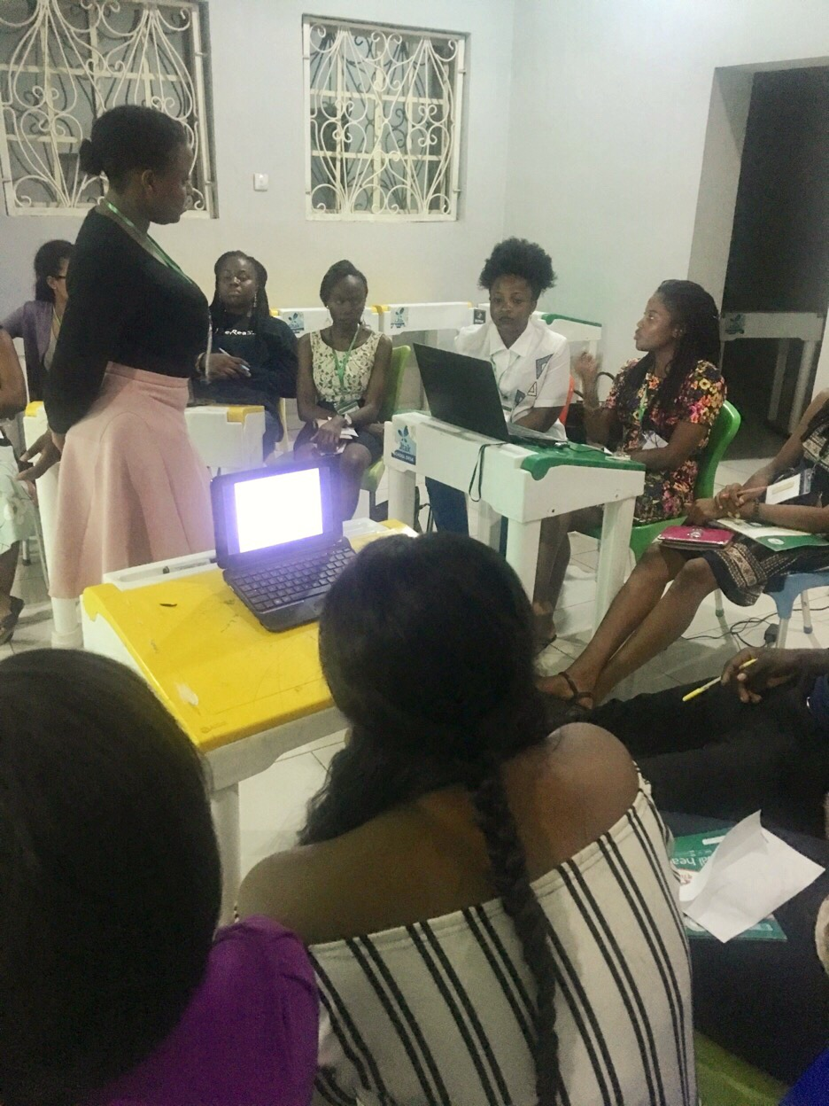 ETP Taking feedback from the participants after her Introduction to GBV Session Kemi speaking on GBV's effect on mental health