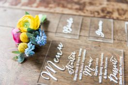 Acrylic menus and decals by Nineteen- Elizabeth Weddings