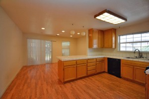hardwood floors and ceramic counters in kitchen