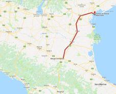 mapa do trajeto de trem de Bolonha até Veneza