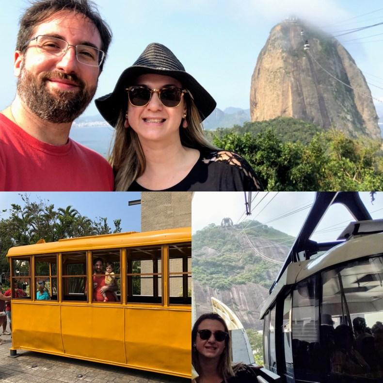 Aqui no Morro da Urca tem um bondinho exposto que foi o primeiro  utilizado e o terceiro teleférico de passageiros instalado no mundo, de acordo com a placa da atração. Rio de Janeiro
