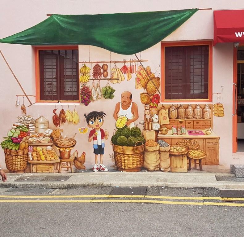 Street Art pelas ruas da Chinatown em Singapura. Detalhe para a Durian (tipo de jaca asiática) pintada na parede. Será que podemos dizer que eles tem uma relação de amor e ódio com essa fruta? Já que ela é proibida no metrô...Hahaha
