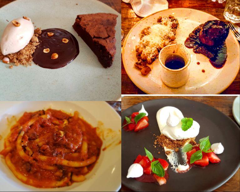 Pici (prato na parte inferior esquerda da imagem)  é uma massa espessa enrolada à mão, como um espaguete maior. É originário da província de Siena, na Toscana; Já na área de Montalcino, eles são chamados de pinci.   Restaurantes românticos rj)