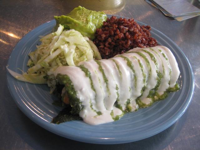 Jicama and apple veggie enchilada with almond cream