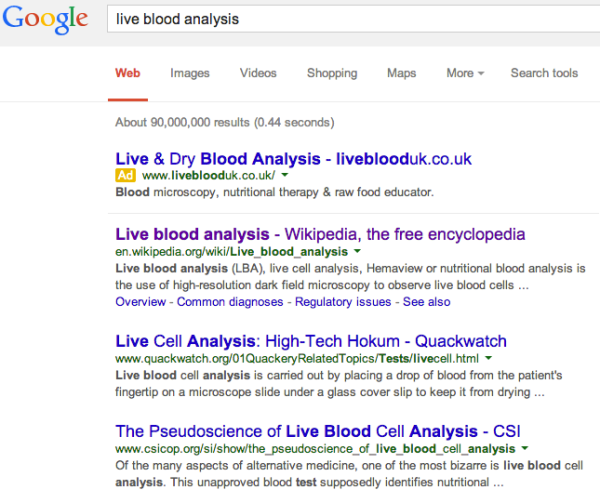 Live Blood Analysis Google Results