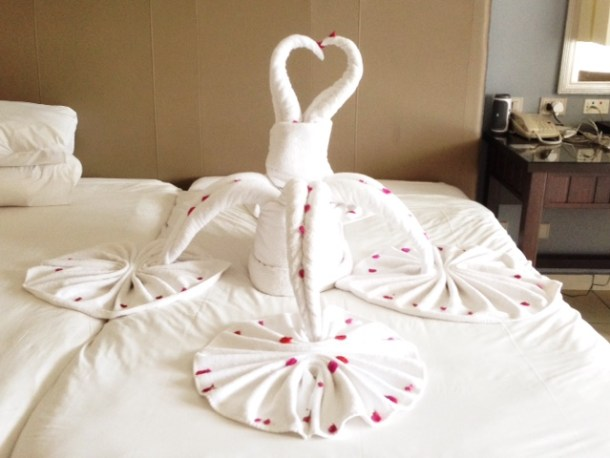 Jaz Aquamarine Towel Art - swans