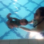 HB goes swimming for the first time