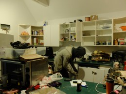 But, before we remove the cabinets, we have to remove all the STUFF from the cabinets!