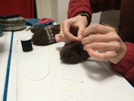 Sewing Fitz's Iceland mittens!