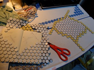 """Making the initial shape, using """"Once Upon a Tart's"""" floor as the template."""