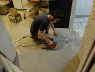 Sanding to a level height.