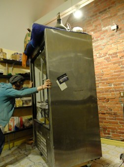 """Moving other heavy furniture around the room for the fun of it. (We continue to be thankful we built a """"skate"""" for the fridge!)"""