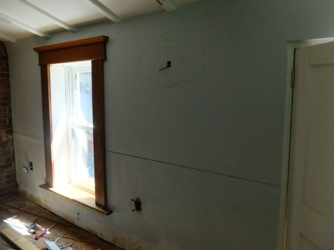 """We started with the window trim - including a topper with fancy molding and a custom sill """"with ears."""""""
