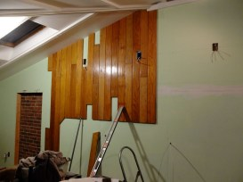 """Up and around! Provisions for a new window to the left and the beginnings of our """"built-in"""" study zone to the right!"""