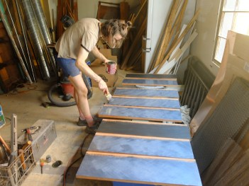 After the stain dried, we used a thick application of mica powder mixed in polyurethane.