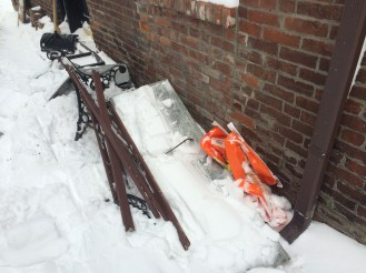 And... after DPW plowed over our park bench during the winter storm. Solution is still: pending.