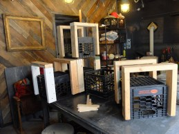 Using milk crates as a base! Great solution so the wood isn't sitting on the wet ground.