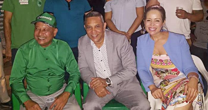 Lic. Enmanuel Trinidad Puello, candidato a la alcaldía por la Fuerza del Pueblo, Franklin Romero, candidato a Senador por la alianza PRM y FP y Angie Paulino, vicealcaldesa por la FP.