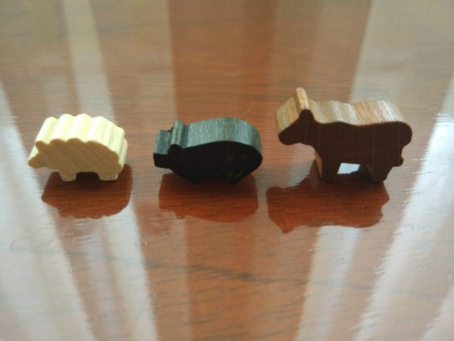 Meeples en forma de animal de Agricola